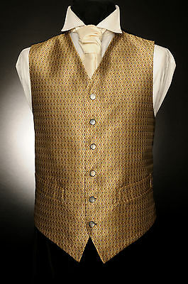 W - 517 Gold Amber Green And Red Diamond Formal Wedding Waistcoat