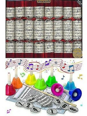 Christmas Crackers with Bells - Sheet Music Design (Box of 8)