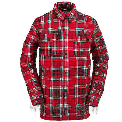 VOLCOM Mens 2016 Snowboard Red Plaid DRIP BONDED FLANNEL