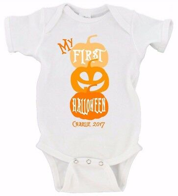 CUSTOM My First Halloween Pumpkin Custom Date Happy Halloween Baby's First