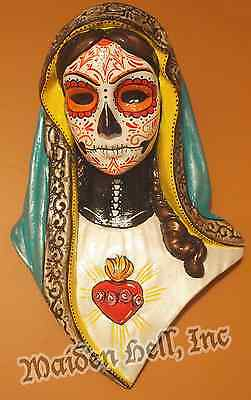 Maiden Hell Inc Day of the Dead Sacred Heart Plaque Dia de los Muertos - Teal