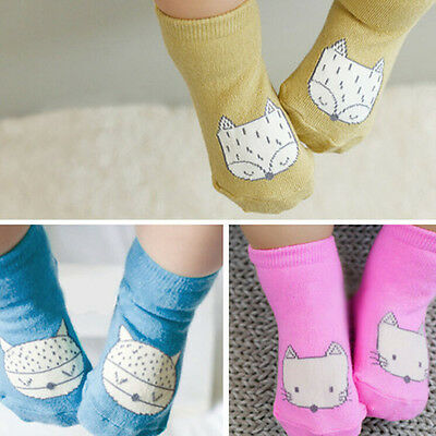Baby Newborn Infant Toddler Kids Soft Cotton Socks Cute Fox Anti-slip Socks Gift
