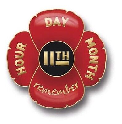 Remembrance Day Poppy Lapel Badge 11-11