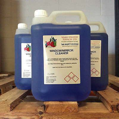 2 x Window & Mirror Glass Cleaner 5ltr 5L 5 Litre Liquid Home Commercial