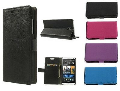 New PU Leather Flip Book Case Cover For HTC One (M8) & Free Screen Film