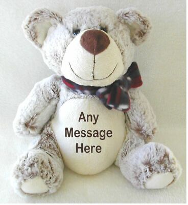 Personalised Grey/beige Teddy Bear Big/little Brother Page Boy Wedding Birthday