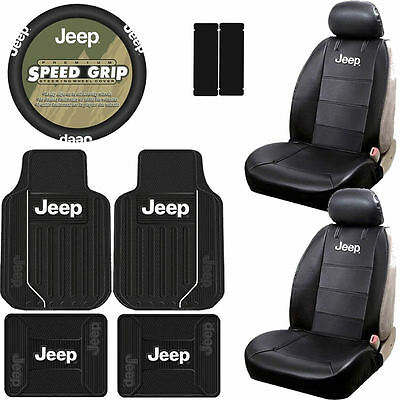 New 11pcs Jeep Elite Style Car Truck Seat Covers Floor Mats Steering Cover Set