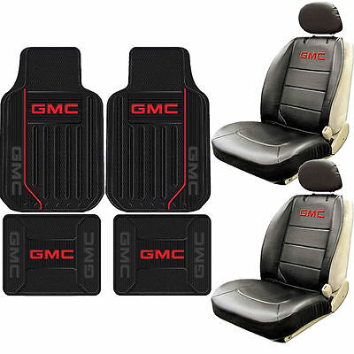 New 8pc GMC Elite Style Logo Sideless Seat Covers Rubber Floor Mat Set Car Truck