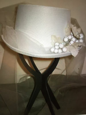 Victorian Bridal Ladies Old West Stage Coach Touring Top Hat-White-Tulle-Costume