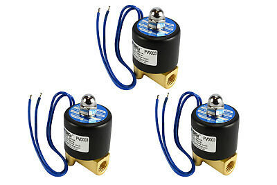 "3 LOT 1/4"" NPT Electric Brass Solenoid Air Water Valve NC 12V DC Pneumatic"