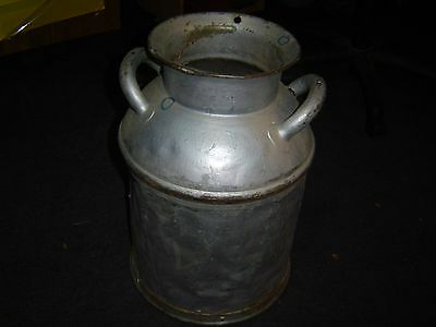 atlantic Old Antique Gray metal Milk Can yard Lawn & Garden Has Dents    P