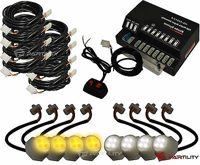 160W 8 LED Bulbs Hide White Amber Emergency Hazard Warning Strobe Light Kit HAW