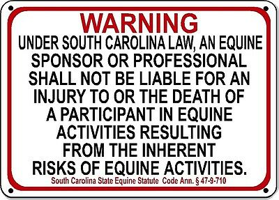 South Carolina Equine Sign liability warning statute horse farm barn stable