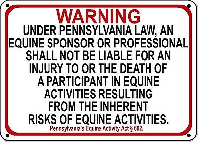 PENNSYLVANIA Equine Sign activity liability warning statute horse barn stable