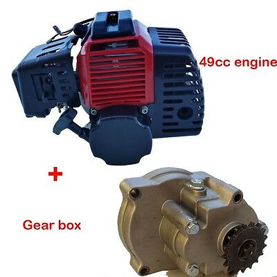 2 Stroke Pull Start Engine+ Gear Box for Petrol Scooter 49cc Pocket Bike Motor