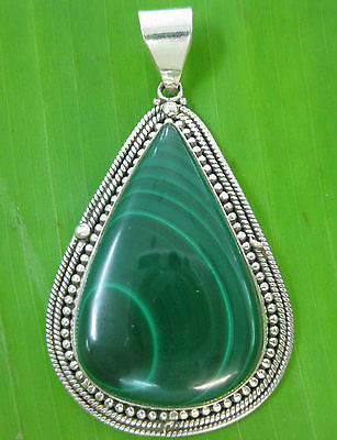 925 sterling silver REAL natural Cabochone MALACHITE Thai Design Women Pendant
