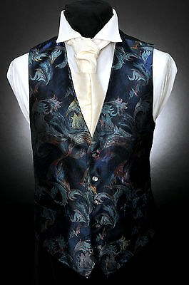 W - 537 Dark Blue Multi-Coloured Wispy Floral Formal Wedding Waistcoat