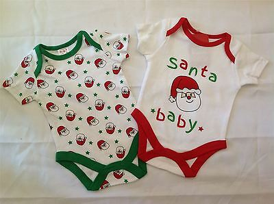New 2 Piece Christmas 'Santa Baby' Baby Sleepsuit and Bodysuit vest