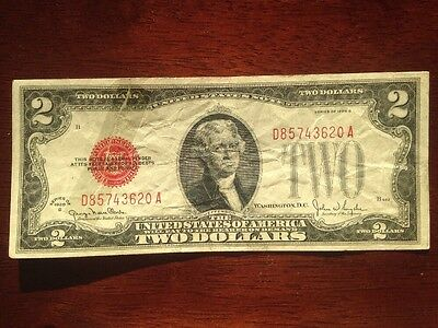 Old Vintage 1928 Two Dollar Bill $2 Red Seal United States Currency Note