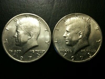 1973 P&D Kennedy Half Dollar Set AU/BU Clad no Silver 50 Cent About UNC MS Mint