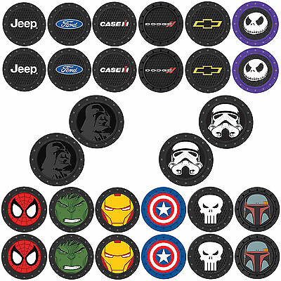 New 2pcs Auto Coaster Cup Holder Jeep Dodge Chevy Marvel Star Wars Car Truck Suv