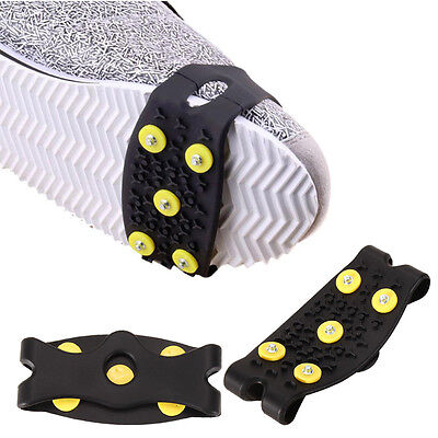 Anti Slip Snow Ice Climbing Spikes Grips Crampon Cleats 5-Stud Shoes Cover New