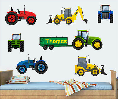 Personalised Tractors & Diggers Wall Art Stickers Farm Vehicles Tractor JCB