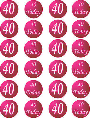 40th Birthday Pink Edible Cupcake / Fairy Cake Toppers x 24