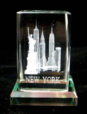 """New York Souvenir NYC Skyline 3D Crystal Laser Etched Glass Small 01-2""""H x 1.6""""W"""