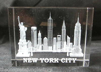 New York Souvenir NYC Skyline 3D Crystal Laser Etched Glass Paperweight Large V