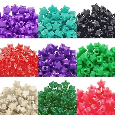 12mm Star Shaped Pony Plastic Beads 50 Colours x 50 Beads