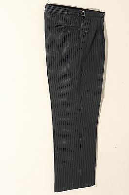 T-0 Mens Grey And Black Pin Stripe Masonic Formal Trouser Wedding/morning/dress
