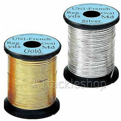 Fly Tying Ribbing Material NEW! UNI FRENCH OVAL TINSEL Gold or Silver