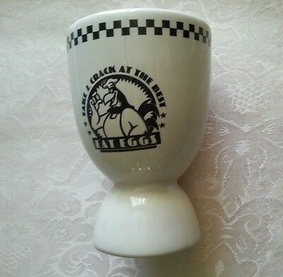 """Vintage Ceramic Egg Holder and Cup """"TAKE A CRACK AT THE BEST"""" ACME HOME WORKS"""