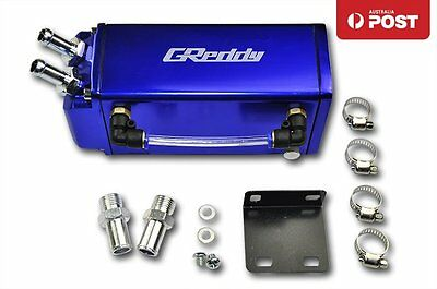 JDM Alloy Blue 1L Oil Catch Tank Can with 9mm & 15mm Fitting (Complete Kit)