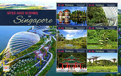 Tuvalu 2015 MNH Sites & Scenes Singapore 2015 6v M/S Gardens Temples Trees