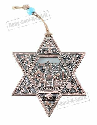 JERUSALEM STAR OF DAVID Soul holy souvenir Success Copper plated Wall Hanging