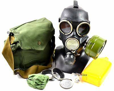 Soviet russian gas mask GP-7 V. Black rubber. New full set with all equipment. M