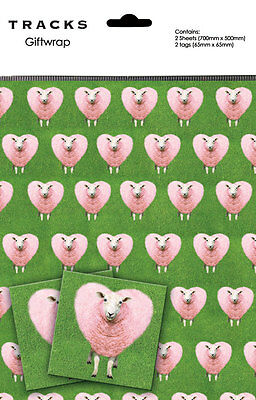 Sheep Gift Wrap 2 Sheets + 2 Tags The Love Sheep Wrapping Paper Pack