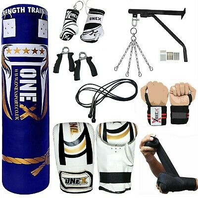 OneX 15 Piece Boxing Set 5ft Filled Heavy Punch Bag Gloves,Chains,Bracket,Kick!