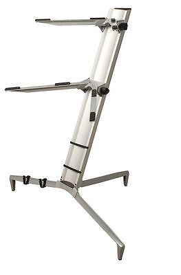 NEW TWO-TIER PORTABLE COLUMN KEYBOARD STAND ALUMINUM w/ Carry Bag KS-80A