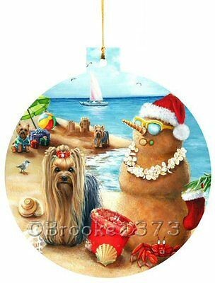 Yorkshire Terrier ORNAMENT CHRISTMAS vacation painting Dog art Yorkie PUPPY 2016