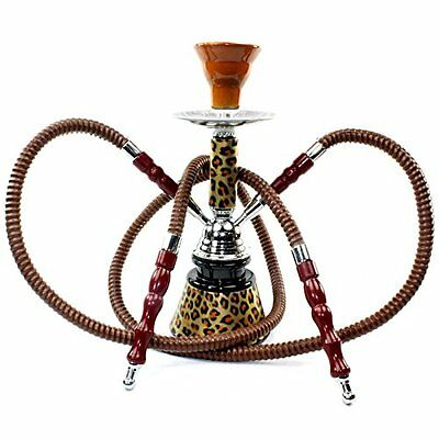 Hookah 2 Hose Set Mini Leopard Glass Vase Shisha Tobacco Huka Smoke Water Pipe