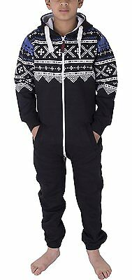 Unisex Kids Girls Boys Aztec Fleece Soft Jumpsuit Playsuit 2-13 Years NEW