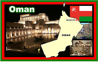 Oman Map & Flag + Sights - Souvenir Novelty Fridge Magnet - New - Gift