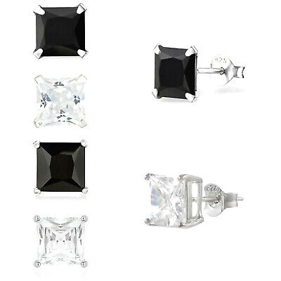 925 Sterling Silver Princess Cut Square CZ Studs Earrings Black White 2.5 -10mm