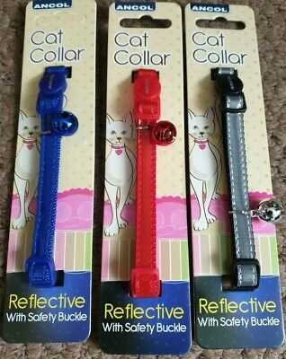 Ancol Cat Collar Gloss Reflective with Bell in three colours