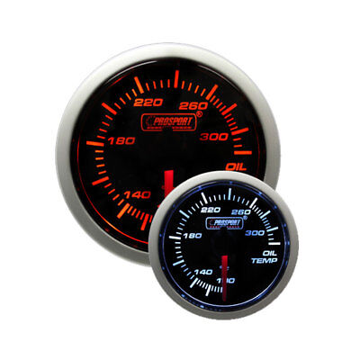 Prosport 52mm Electric Oil Temperature Gauge w/ Sender (Amber / White)