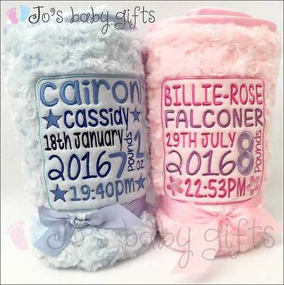 Personalised Luxury Embroidered Baby Blanket, Fluffy & Soft  -FULL BIRTH DETAILS