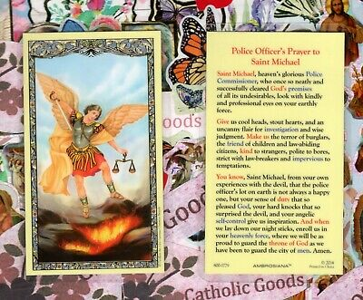 St Michael with Police Officer's Prayer - Laminated Holy Card